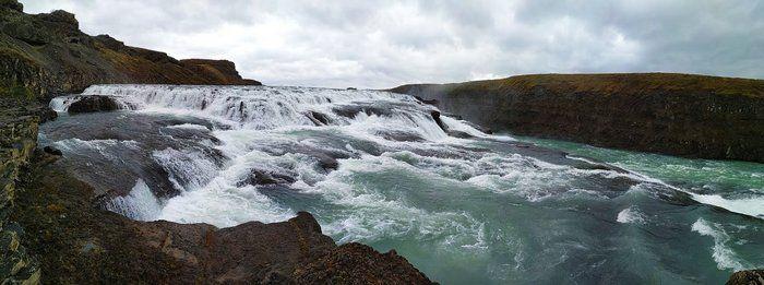 Panoroma landschap foto van waterval in IJsland natuur