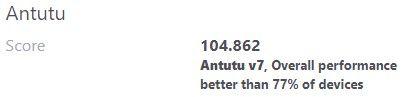 De Antutu V7 snelheidsscore van de Xiaomi Redmi 7: 104.862.