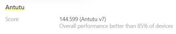 De Antutu snelheidsscore van de Xiaomi Redmi Note 7: 144.599.