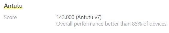 Met een score van bijna 150.000 op de Antutu V7 test verslaat de Xiaomi Mi A3 85% van alle andere mobieltjes.