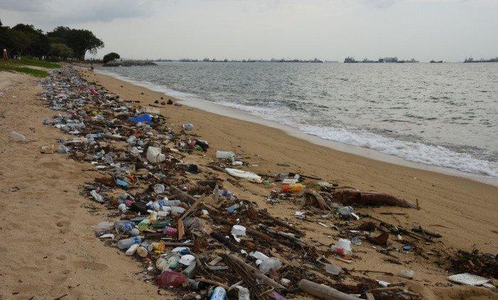 Plastic afval aangespoeld op het strand