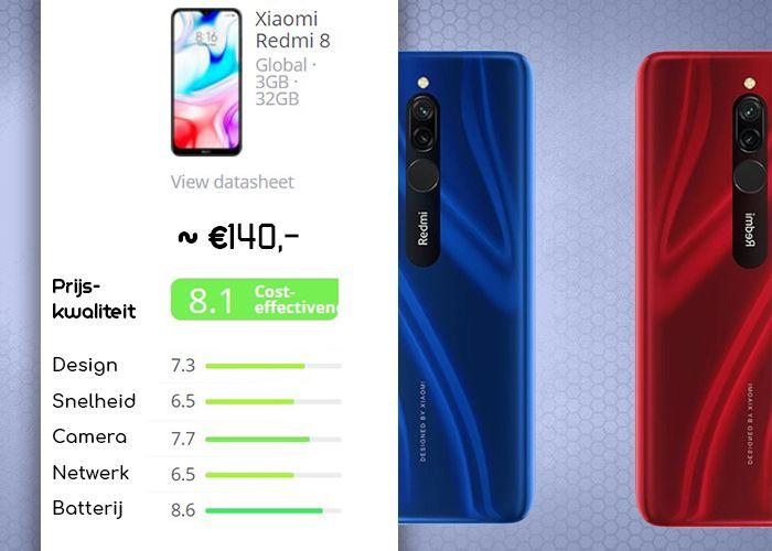 De Xiaomi Redmi 8 specificaties en scores op snelheid, camera, design, netwerk en batterij